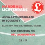 Handball Auswärtsniederlage im Südderby 30. November 2019