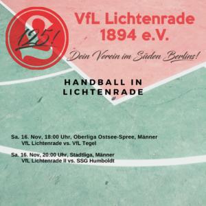 Handball Männer Oberliga-Ostsee-Spree – VfL Lichtenrade vs. VfL Tegel @ Reinhold-Meyerhof-Schulsporthalle | Berlin | Berlin | Deutschland
