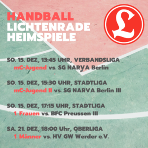 Handball mC-Jugend Verbandsliga – VfL Lichtenrade vs. SG NARVA Berlin @ Reinhold-Meyerhof-Schulsporthalle | Berlin | Berlin | Deutschland