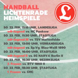 Handball wB-Jugend Landesliga – VfL Lichtenrade vs. HC Pankow @ Reinhold-Meyerhof-Schulsporthalle | Berlin | Berlin | Deutschland