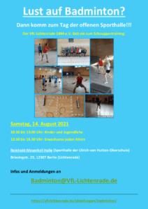 Lust auf Badminton? – Tag der offenen Sporthalle! @ Reinhold-Meyerhof-Schulsporthalle | Berlin | Berlin | Deutschland