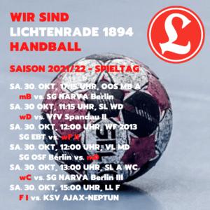 HVB Spieltag am 30. Oktober 2021 @ Reinhold-Meyerhof-Schulsporthalle | Berlin | Berlin | Deutschland
